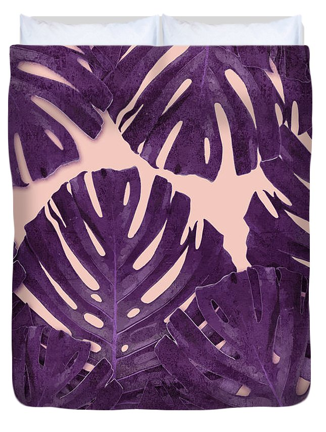 Monstera Duvet Cover featuring the mixed media Monstera Leaf Pattern - Tropical Leaf Pattern - Purple - Tropical, Botanical - Modern, Minimal Decor by Studio Grafiikka