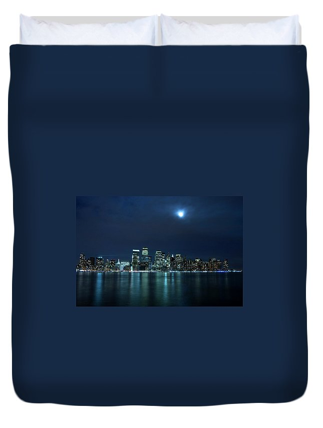 Lower Manhattan Duvet Cover featuring the photograph Moon Light Over New York City by Brandonj74