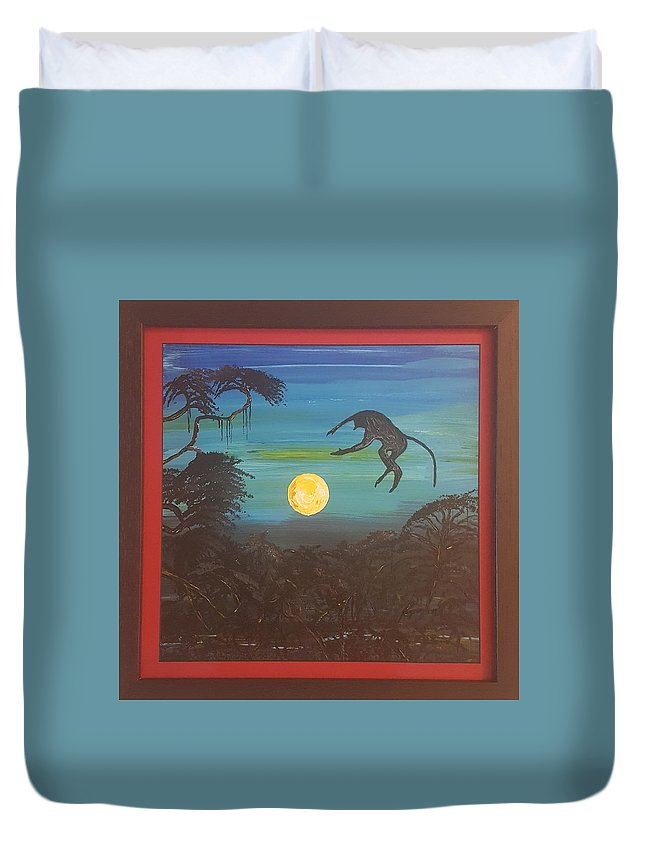 Moonlight Baboon Duvet Cover featuring the photograph Moonlight Baboon by Quintus Curtius