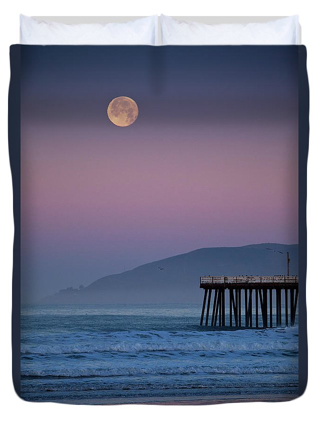 Pismo Beach Duvet Cover featuring the photograph Moonset At Pismo Beach by Mimi Ditchie Photography
