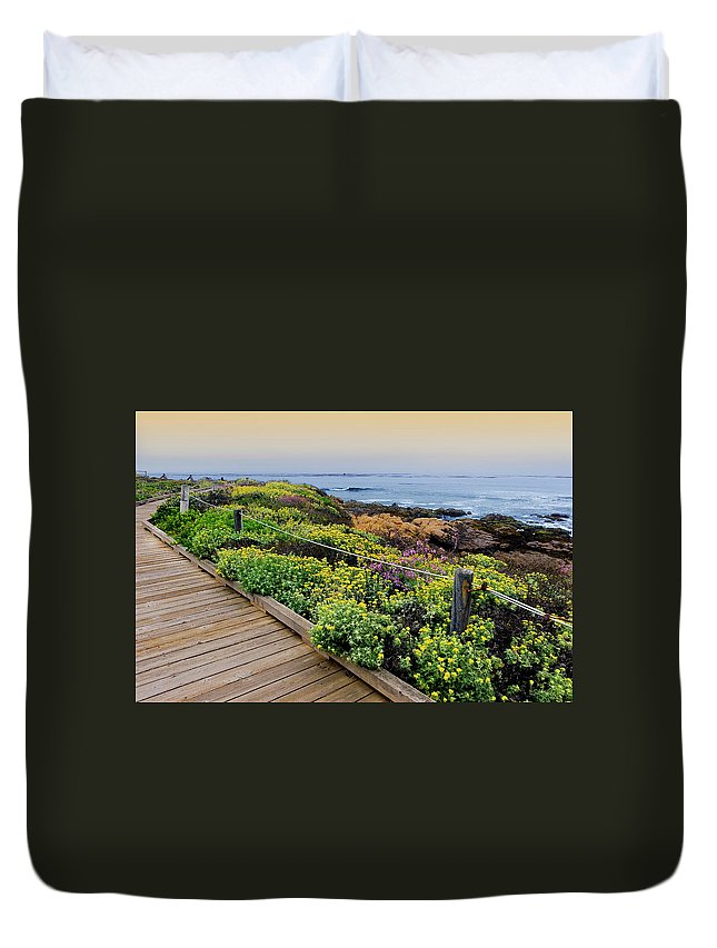 Tranquility Duvet Cover featuring the photograph Moonstone Boardwalk by Stephanie Sawyer
