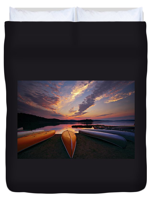 Tranquility Duvet Cover featuring the photograph Morning At Lake Of The Two Rivers by Henry@scenicfoto.com