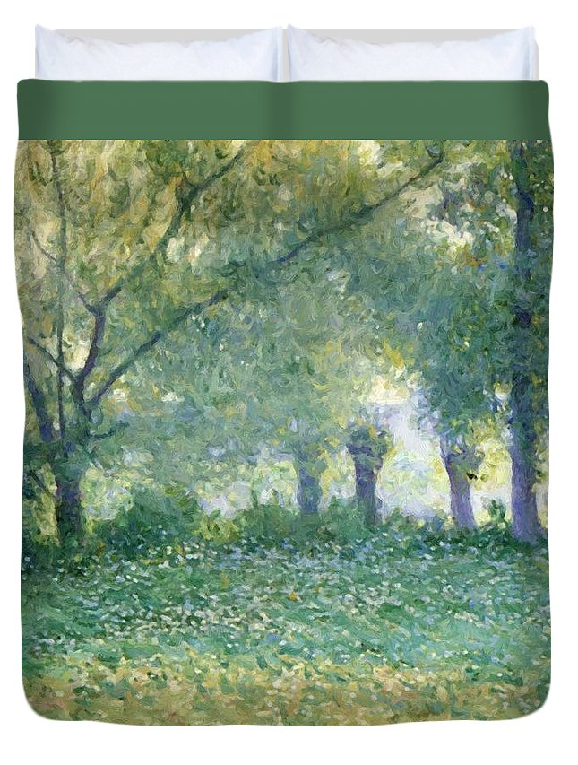 Morning Duvet Cover featuring the painting Morning Mist Also Known As Late Spring by Guy Rose