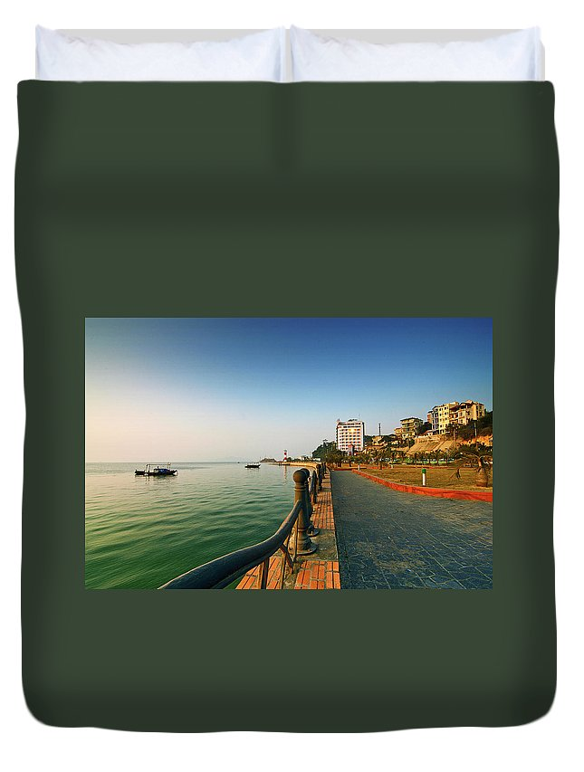 Dawn Duvet Cover featuring the photograph Morning Of Halong Bay by Andy Tan
