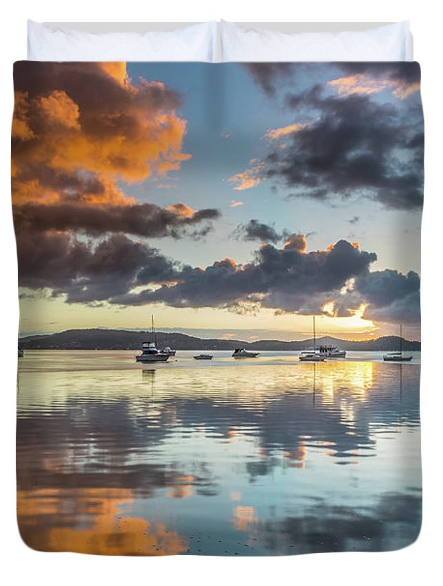 Australia Duvet Cover featuring the photograph Morning Reflections Waterscape by Merrillie Redden