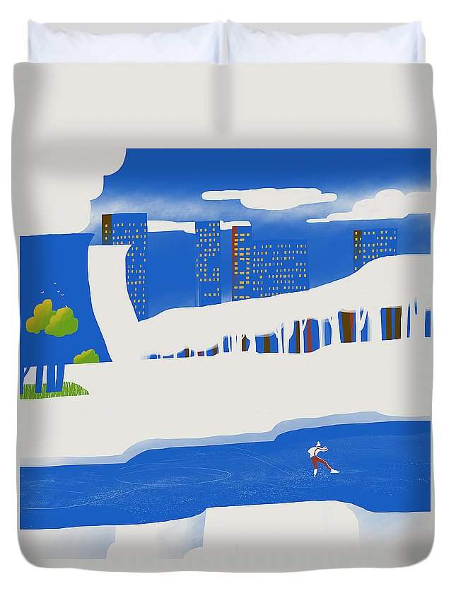 People Duvet Cover featuring the digital art Moscow December by Sergey Maidukov