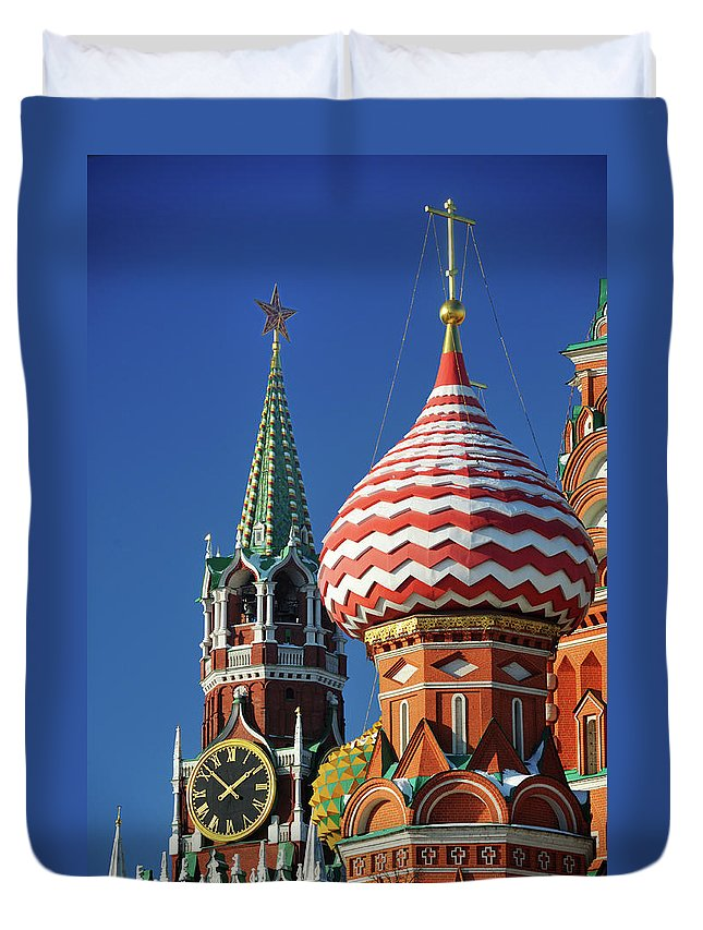 Built Structure Duvet Cover featuring the photograph Moscow, Spasskaya Tower And St. Basil by Vladimir Zakharov