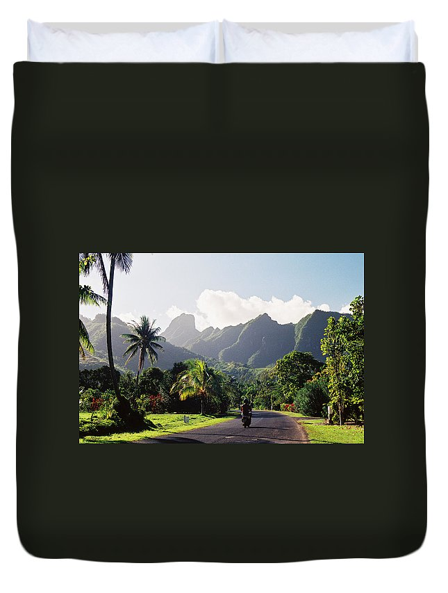 Shadow Duvet Cover featuring the photograph Motorcyclist On Polynesian Road by Ejs9