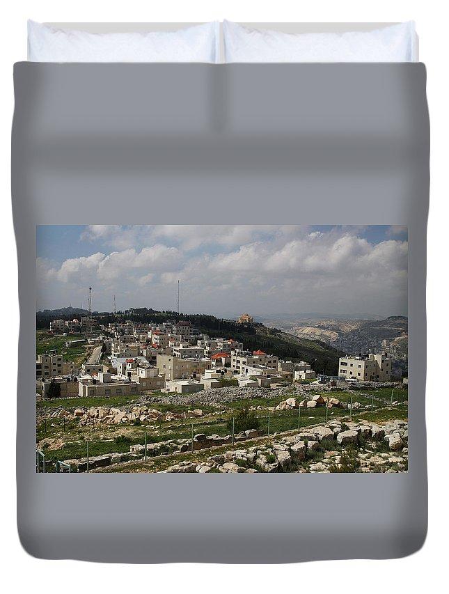 Tranquility Duvet Cover featuring the photograph Mount Gerizim, Samaritan Community by Gunter Hartnagel