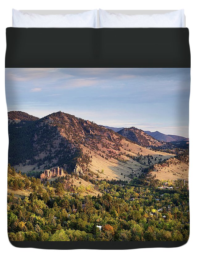 Scenics Duvet Cover featuring the photograph Mount Sanitas And Fall Colors In by Beklaus