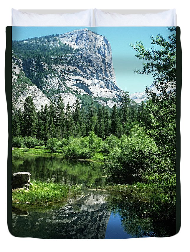Scenics Duvet Cover featuring the photograph Mount Watkins And Mirror Lake by Moodboard