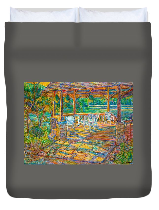 Lake Duvet Cover featuring the painting Mountain Lake Shadows by Kendall Kessler