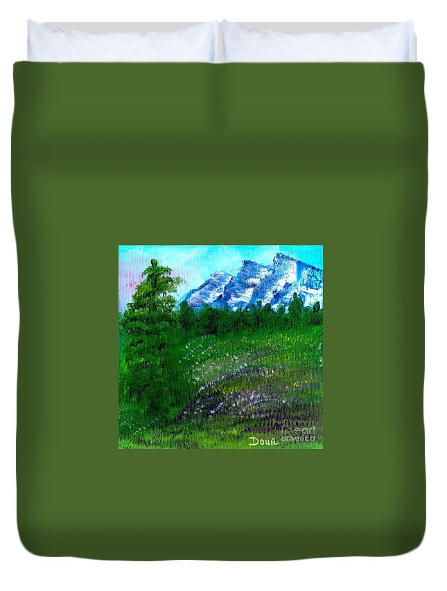 Landscape Duvet Cover featuring the painting Mountain Meadow by Joanne Dour