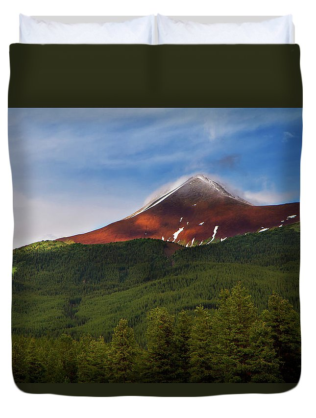 Scenics Duvet Cover featuring the photograph Mountain Peak - Jasper National Park by Adria Photography