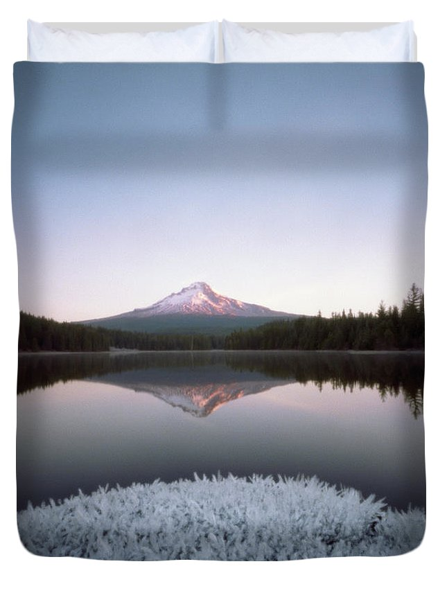 Scenics Duvet Cover featuring the photograph Mt. Hood Lit By Sunrise by Wendi Andrews