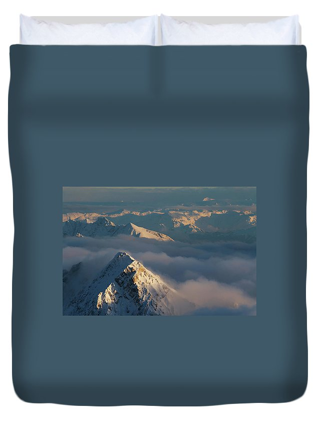 Scenics Duvet Cover featuring the photograph Mt. Zugspitze 6 - Bavaria Germany by Wingmar