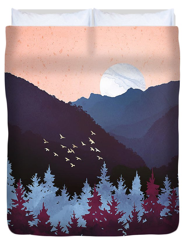 Digital Duvet Cover featuring the digital art Mulberry Dusk by Spacefrog Designs