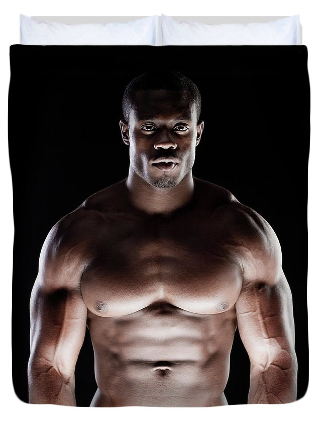 Young Men Duvet Cover featuring the photograph Muscular Man by Pkline