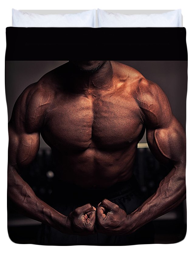 Young Men Duvet Cover featuring the photograph Muscular Torso by Marilyn Nieves