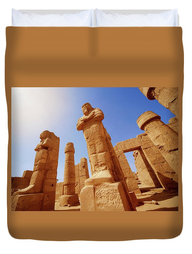 Art Duvet Cover featuring the photograph Mysterious Ancient Temple Ruins In Egypt by Fds111