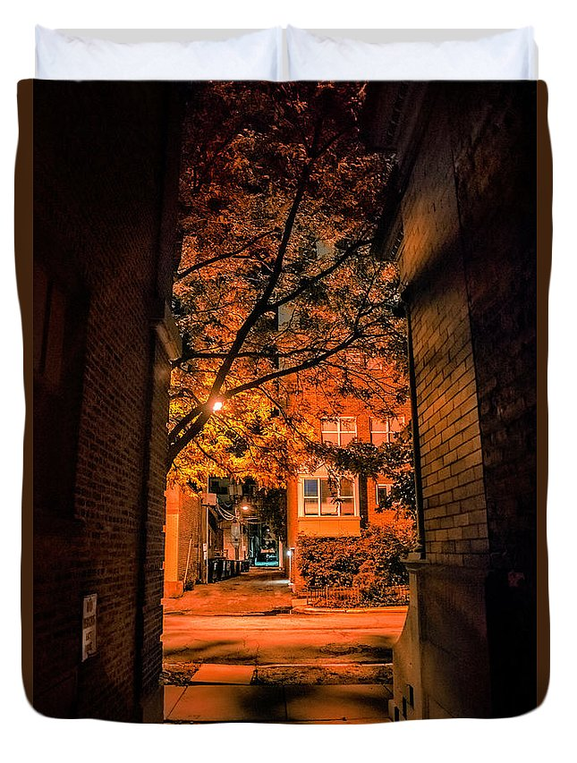 Mysterious Duvet Cover featuring the photograph Mysterious Chicago Gangway by Bruno Passigatti