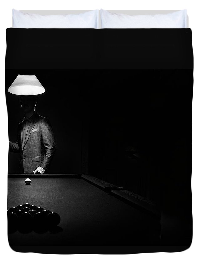 Mature Adult Duvet Cover featuring the photograph Mystery Pool Player Behind Rack Of by Design Pics / Richard Wear