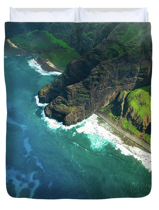 Scenics Duvet Cover featuring the photograph Na Pali Coast Kauai Island Hawaiian by Mlenny