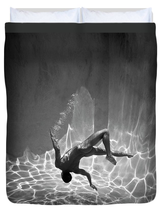 Underwater Duvet Cover featuring the photograph Naked Man Underwater by Ed Freeman