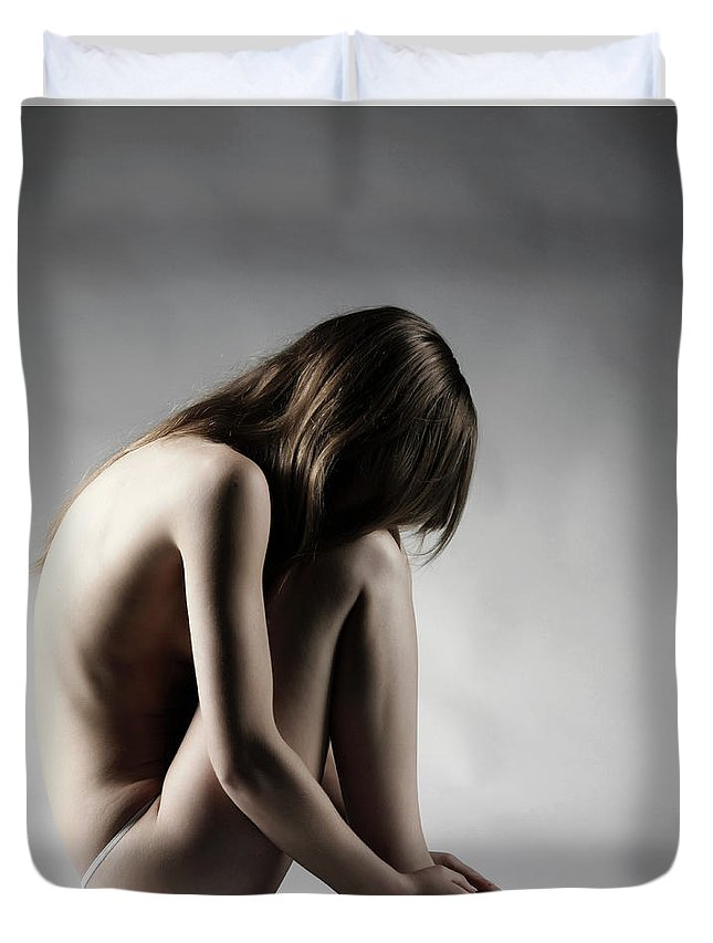 People Duvet Cover featuring the photograph Naked Woman by Buena Vista Images