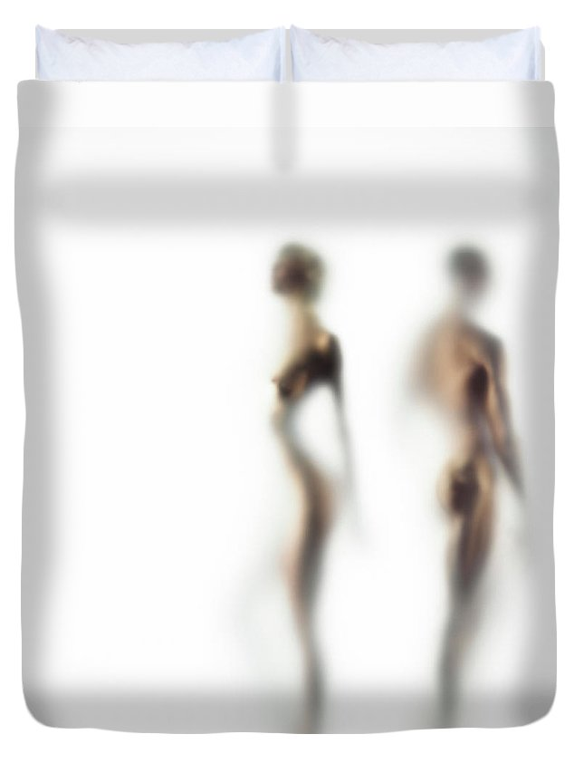 Young Men Duvet Cover featuring the photograph Naked Young Woman And Man Defocussed by Symphonie