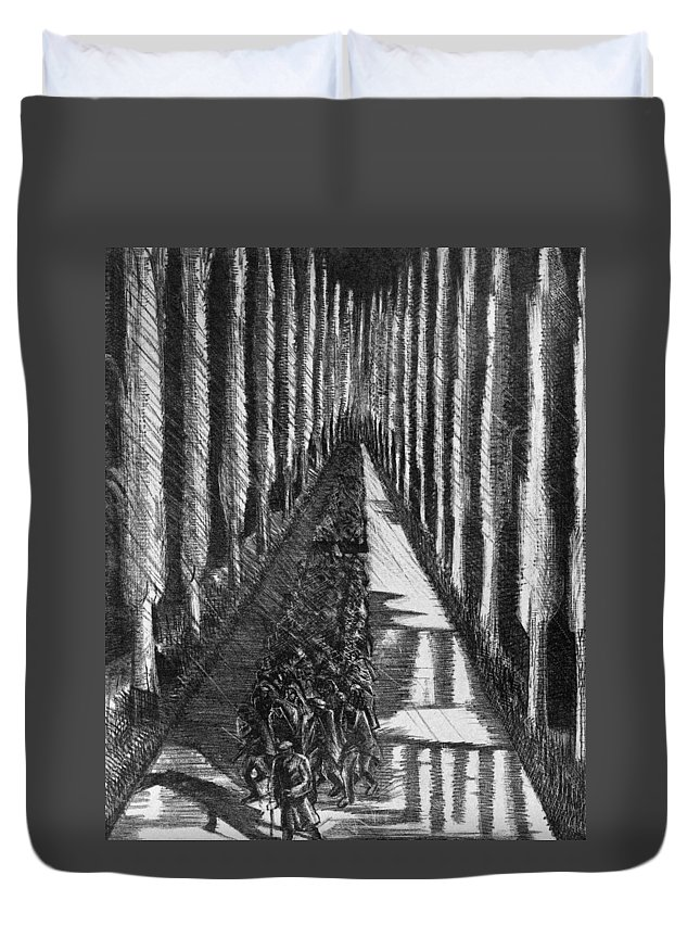 B1019 Duvet Cover featuring the drawing Men Marching At Night, 1918 by Paul Nash