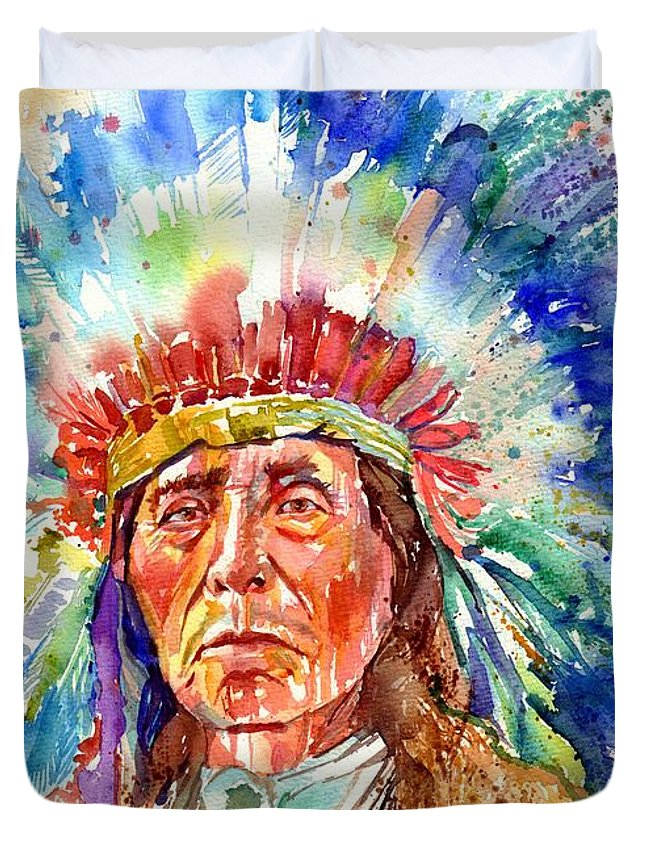 Iowa Duvet Cover featuring the painting Native American Chief by Suzann Sines