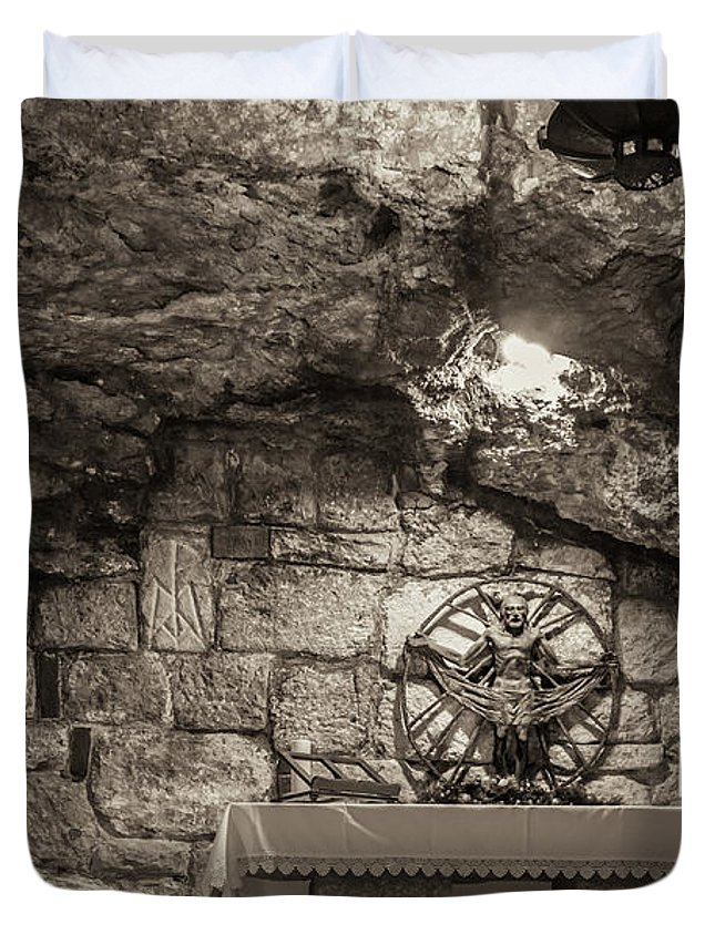 Ancient Duvet Cover featuring the photograph Nativity Cave by Sean O'Cairde