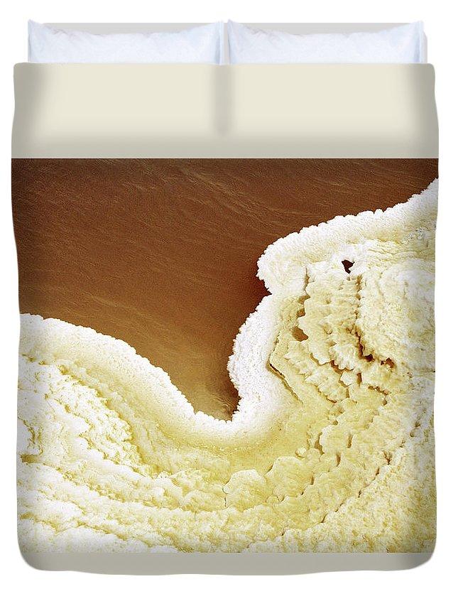 Mineral Duvet Cover featuring the photograph Natural Salt On A Salt Lake by Hans Neleman