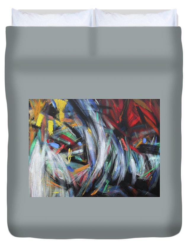 Abstract Duvet Cover featuring the painting nebula X by Aldo Carhuancho herrera