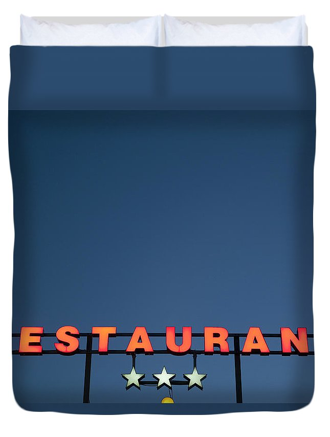Temptation Duvet Cover featuring the photograph Neon 3 Star Restaurant Sign by Henglein And Steets