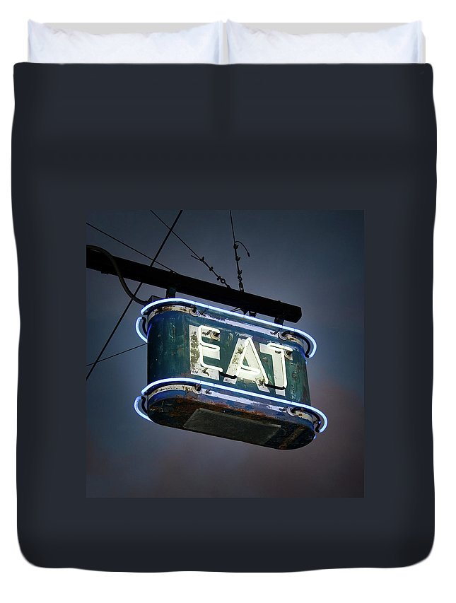 Hanging Duvet Cover featuring the photograph Neon Eat Sign by Kjohansen