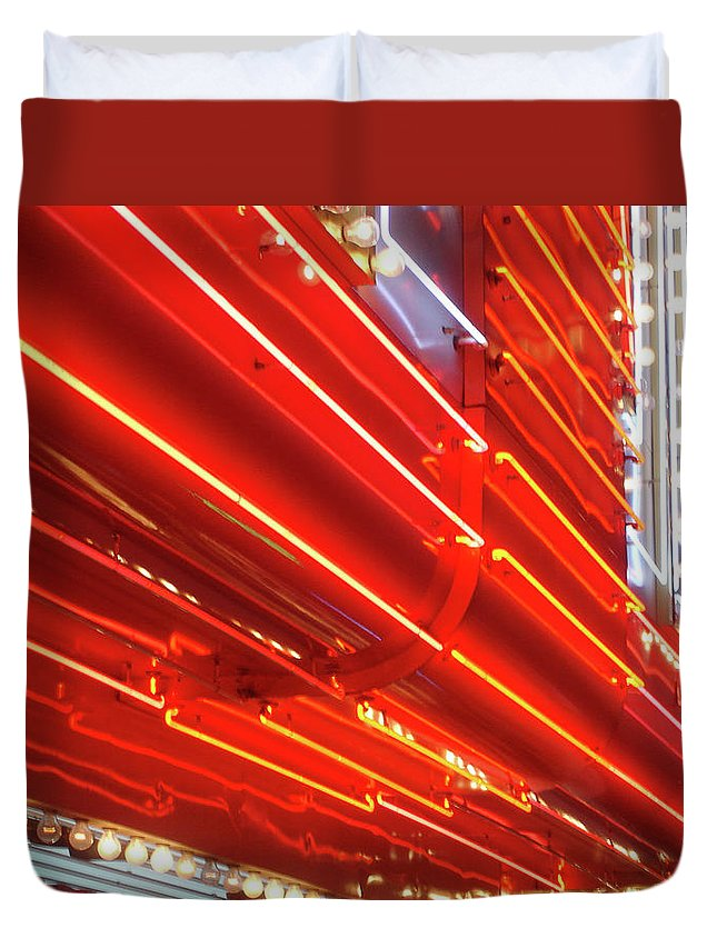 Downtown District Duvet Cover featuring the photograph Neon Lights Downtown Las Vegas by Jill Tindall