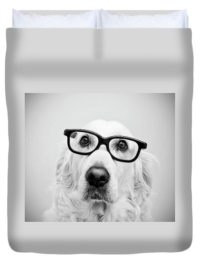 Pets Duvet Cover featuring the photograph Nerd Dog by Thomas Hole