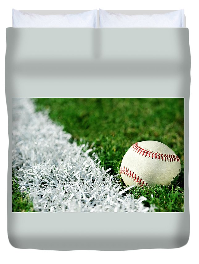 Grass Duvet Cover featuring the photograph New Baseball Along Foul Line by Cmannphoto