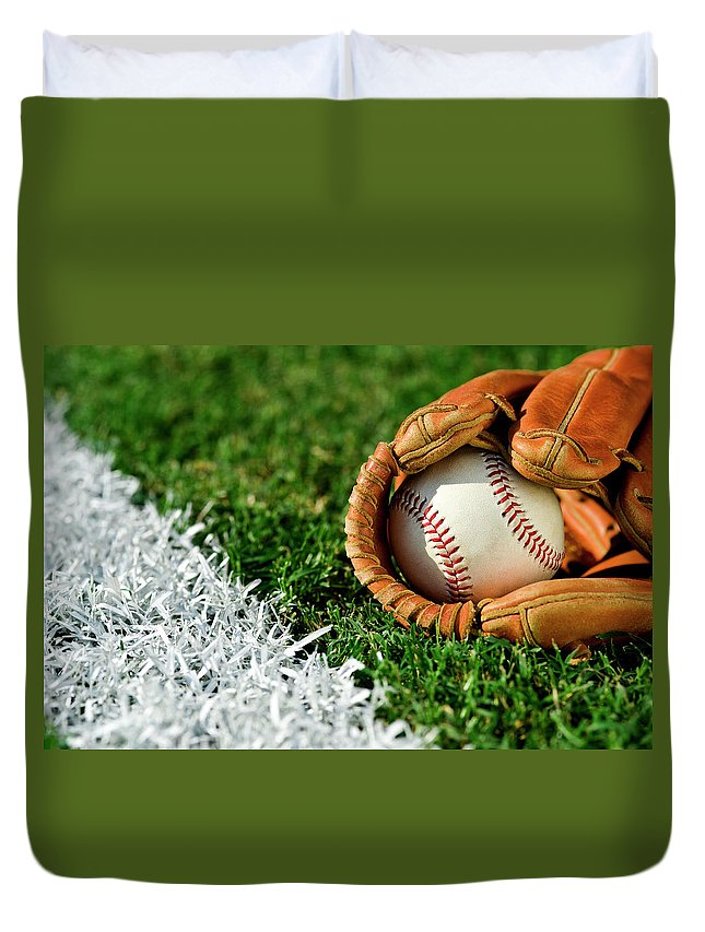 Grass Duvet Cover featuring the photograph New Baseball In Glove Along Foul Line by Cmannphoto