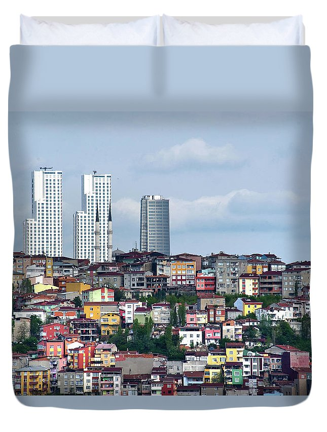 Istanbul Duvet Cover featuring the photograph New Istanbul by Alain Bachellier