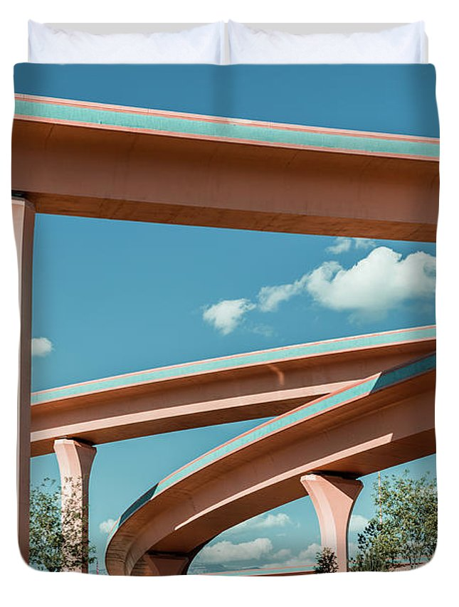 Autobahn Duvet Cover featuring the photograph New Mexico Albuquerque Interstate by Mlenny