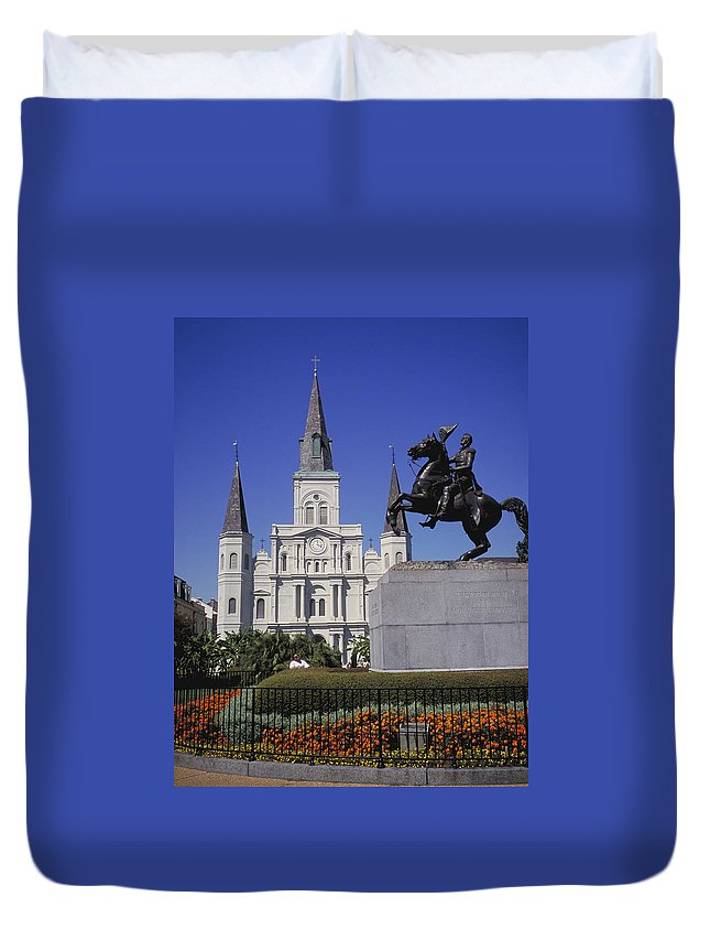 Statue Duvet Cover featuring the photograph New Orleans, St. Louis Cathedral And by Jvt