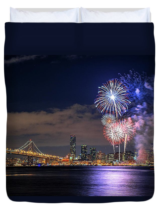Firework Display Duvet Cover featuring the photograph New Year Fireworks by Piriya Photography