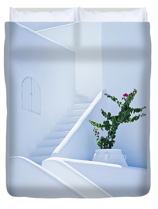 Steps Duvet Cover featuring the photograph Nice White Stairs In Oia Village by Mbbirdy