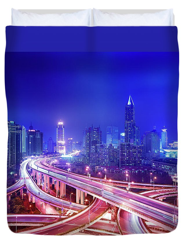 Blurred Motion Duvet Cover featuring the photograph Night View Of A Six-level Interchange by Xpacifica