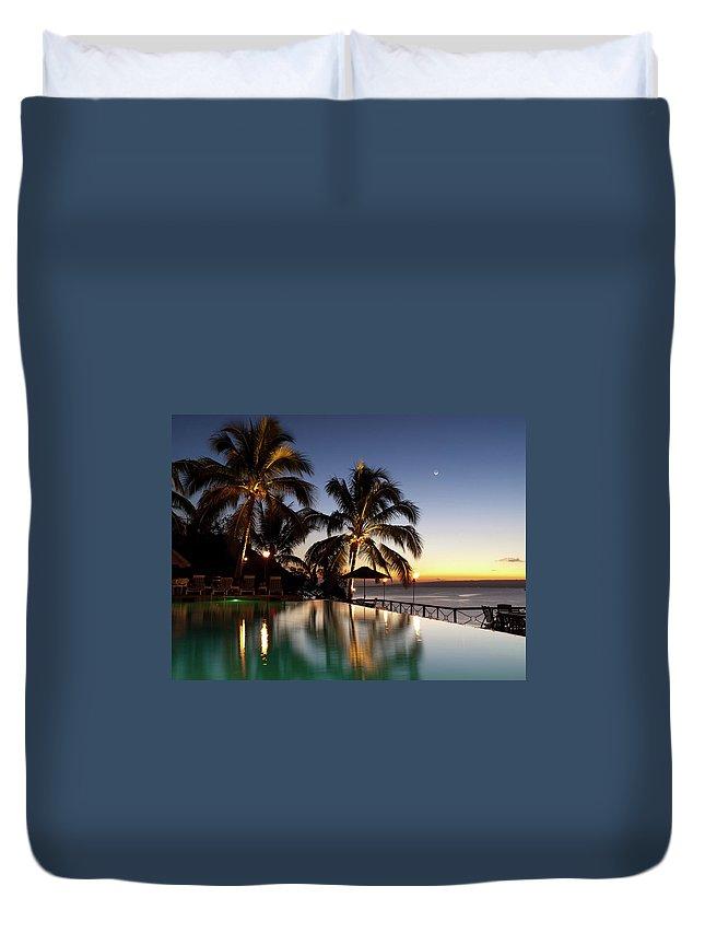 Swimming Pool Duvet Cover featuring the photograph Nightfall At Iririki Island, Vanuatu by Holgs