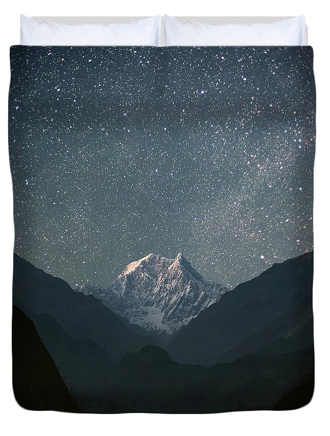Himalayas Duvet Cover featuring the photograph Nilgiri South 6839 M by Anton Jankovoy
