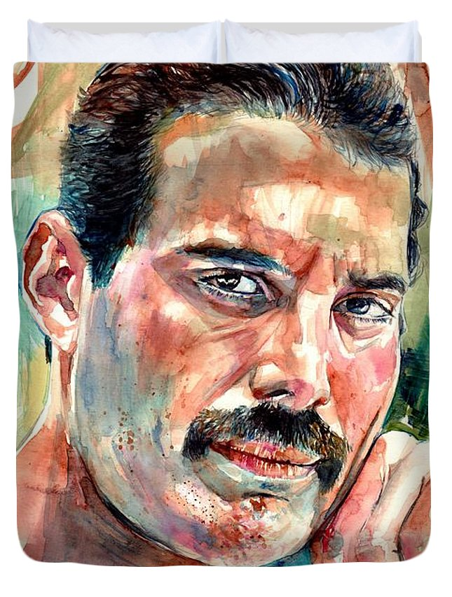 Freddie Mercury Duvet Cover featuring the painting No One But You - Freddie Mercury Portrait by Suzann Sines